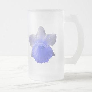 Dripping Daffodil Blue Frosted Glass Mug