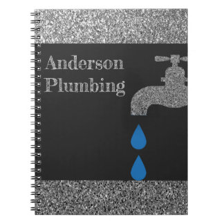 Dripping  faucet and water plumbing glitter effect notebook