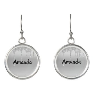 Dripping Glitter Silver Personalized Earrings