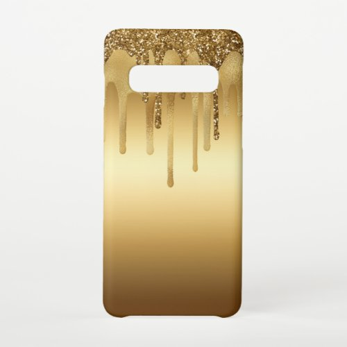 Dripping Gold Paint Glitter Accents Sparkly Art Samsung Galaxy S10 Case
