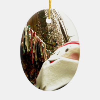 Dripping Gum Gnome Double-Sided Oval Ceramic Christmas Ornament
