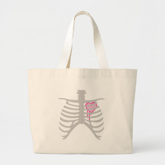 Dripping Heart in Ribcage Large Tote Bag