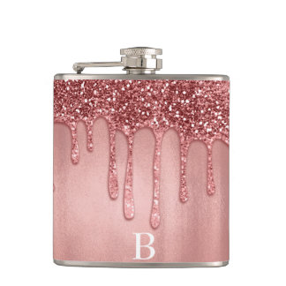 Dripping in Rose Gold Glitter Pretty Pink Drips Flask