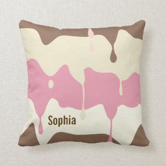 Dripping Neapolitan Ice Cream Personalized Pillows