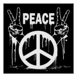 DRIPPING PAINT PEACE SIGNS POSTER