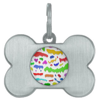 Dripping Paint Splodges Pet Name Tag