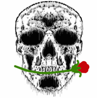 Drippy White Skull with Rose Ornament Cut Out