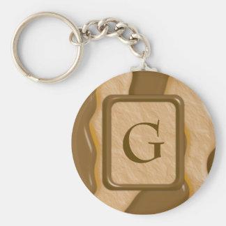Drips - Chocolate Peanut Butter Basic Round Button Keychain