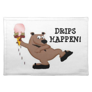 Drips Happen Ice Cream Bear Table Placemat