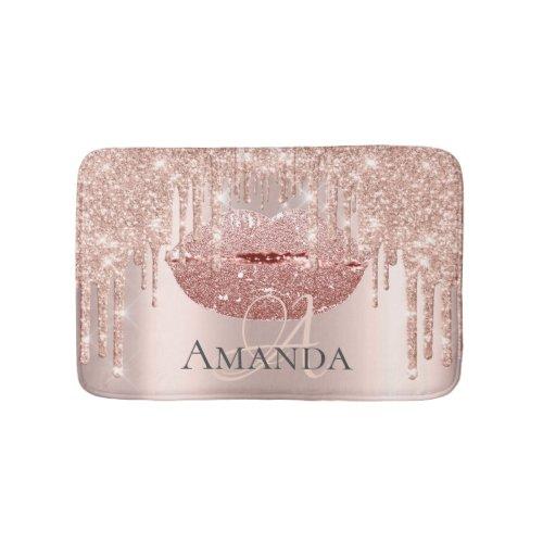 Drips Rose Pink Blush Glitter Name Monogram Makeup Bath Mat