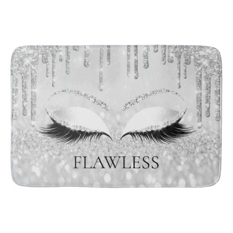 Drips Silver Glitter Name Eyes Lashes FLAWLESS Bath Mat
