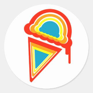 dripz retro del helado pegatina redonda