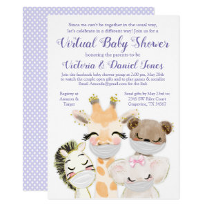 Drive By Baby Shower Invitation, Animals with Masks