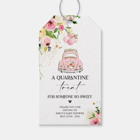 Drive By Baby Shower Favor Tag Pink Floral