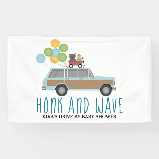 Drive By Baby Shower Honk & Wave Blue SUV Banner