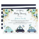 Drive By Baby Shower Invitation Blue Floral Shower (Part of a collection)