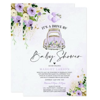 Drive By Baby Shower Invitation Templates Purple Floral