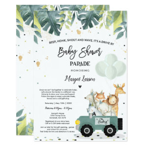 Drive by Baby Shower Invitations for boy, Safari