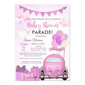 Purple Drive By Baby Shower Parade Invitation Template