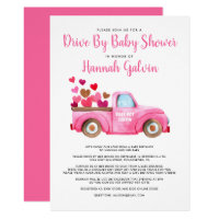 Drive By Baby Shower Truckload of Hearts and Love Invitation