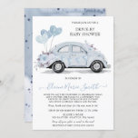 Drive by Baby Shower Watercolor Floral Blue Car Invitation