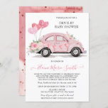 Drive by Baby Shower Watercolor Floral Pink Car Invitation