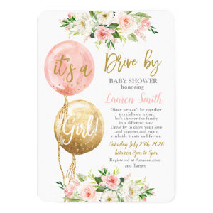 Drive by baby shower Invitations for girls with balloons