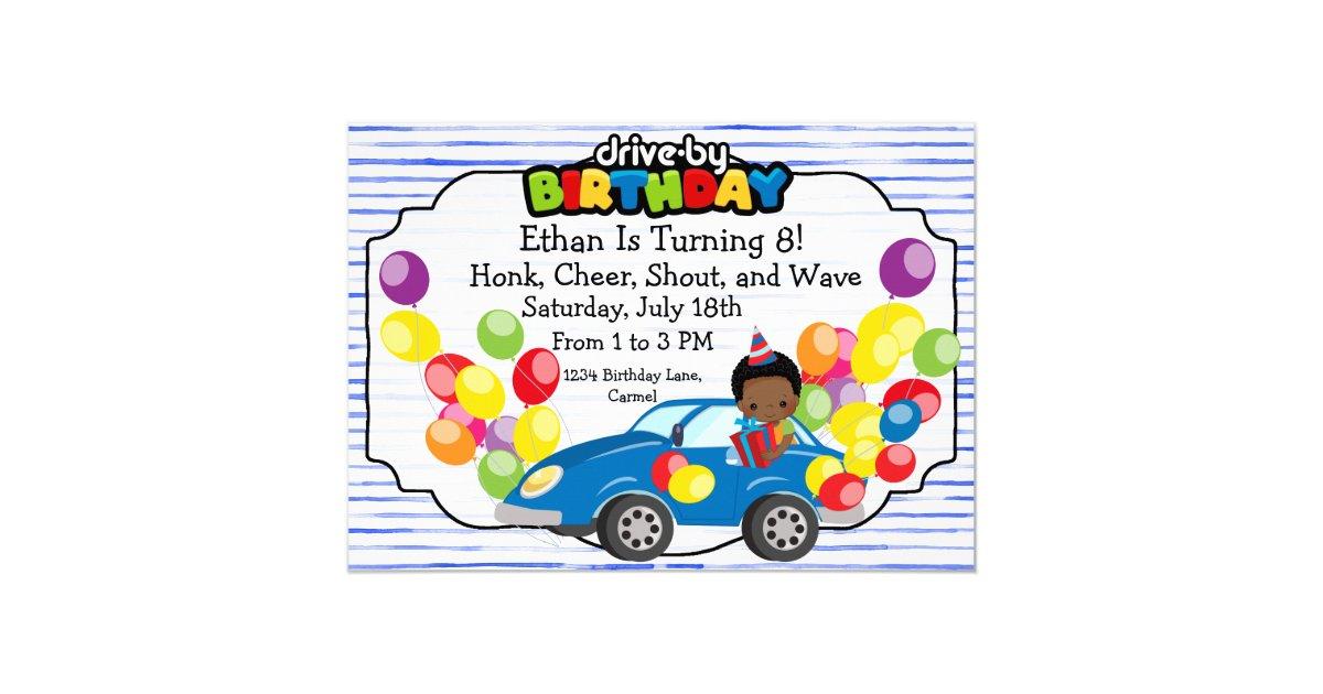 Drive By Birthday Parade Blue Car Party Boy Invitation Zazzle Com