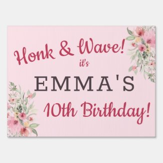 Drive-By Birthday Parade Cute Girly Personalized Sign