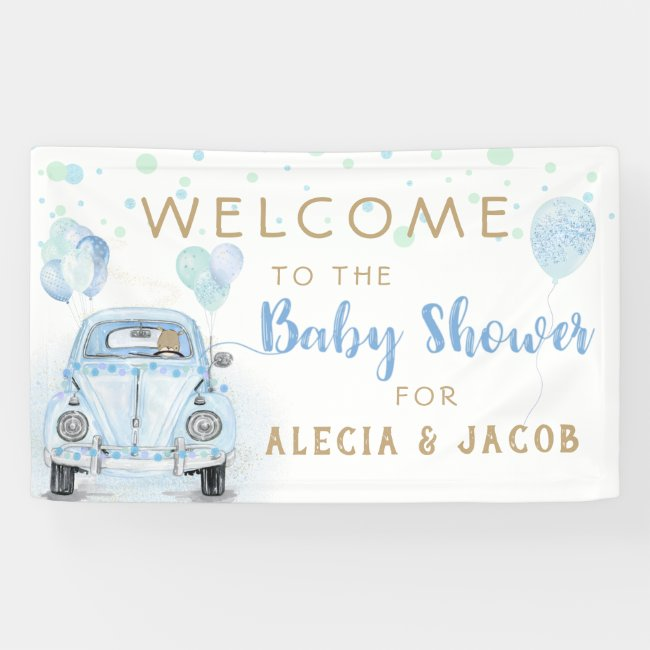 Drive By Boy Baby Shower Gold Blue Car Banner