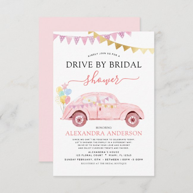 Drive By Bridal Shower Blush Pink Gold Foil Invitation