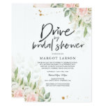 Drive By Bridal Shower Invitation Greenery & Gold