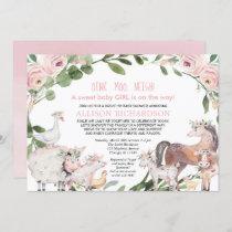 Drive by Farm Barnyard animals girl baby shower Invitation