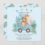 Drive By Jungle Animals Boys Baby Shower Invitation