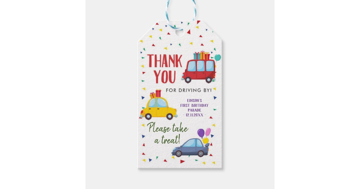 Drive By Kid S Birthday Party Parade Thank You Tag Zazzle Com