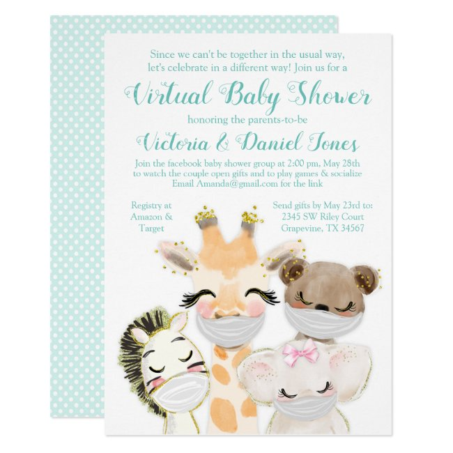 Drive By Mail Baby Shower Baby Animals Masks Invitation