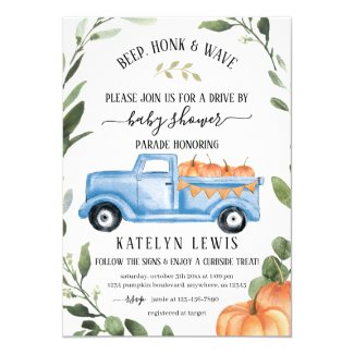 Fall Drive By Baby Shower Invitation Template for Boy A Little Pumpkin