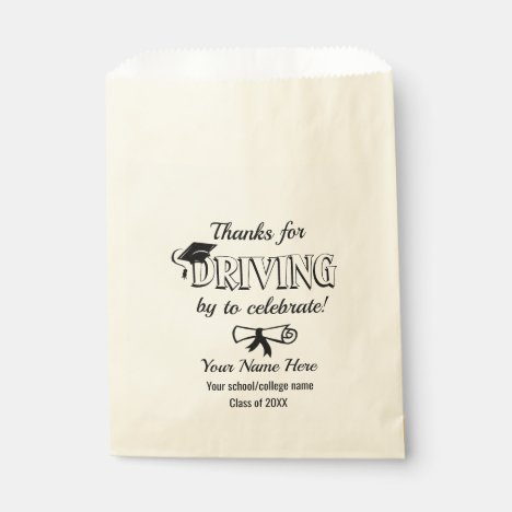 DRIVE BY virtual Graduation Party Favor Bag