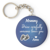 Drive Carefully Blue Metallic quote design Keychain
