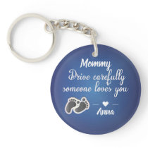 Drive Carefully Blue metallic quote Keychain
