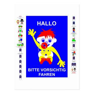 Drive carefully - in German. Postcard