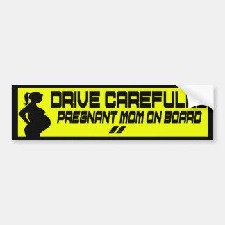 drive carefully pregnant mom on board bumper sticker
