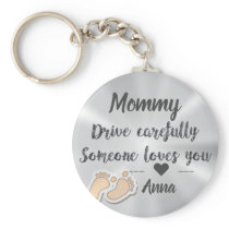 Drive Carefully Silver Cute quote design Keychain