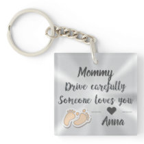Drive Carefully Silver Cute quote Keychain