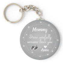 Drive Carefully  silver diamonds quote design Keychain