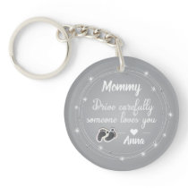 Drive Carefully silver diamonds quote Keychain