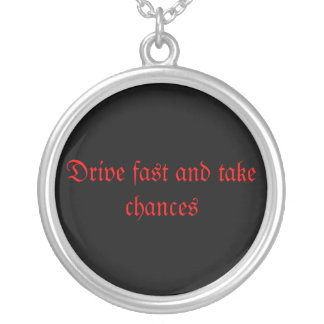 Drive fast round pendant necklace