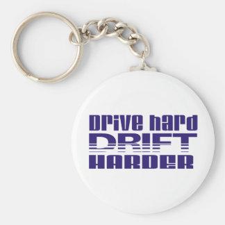 drive hard drift harder basic round button keychain