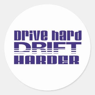 drive hard drift harder classic round sticker