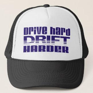 drive hard drift harder trucker hat